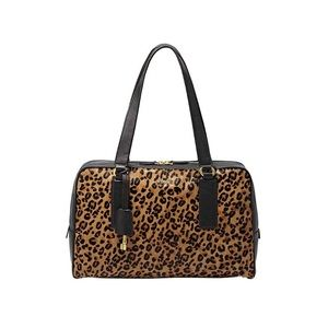 Beautiful Fossil leopard print satchel bag.